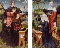 saint elizabeth and saint james of compostella with donors and their children by master of frankfurt