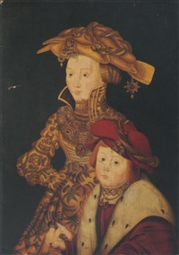 portrait of a noblewoman and her son (princess sophie and prince of saxony?) by franz wolfgang rohrich