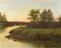 pescadores en el borde de un rio by louis paul sauvaige