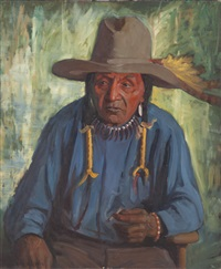 indian man with yellow feather in hat by kathryn woodman leighton