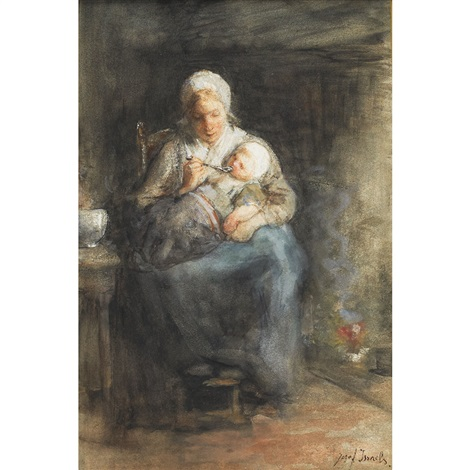 mother cares by jozef israëls