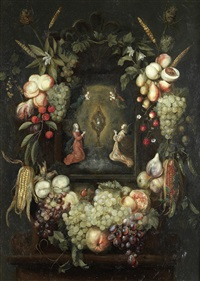a garland of fruit surrounding a niche with angels worshipping the monstrance by frans ykens