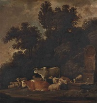 a wooded landscape with cattle, sheep and goats by a fountain by govert dircksz camphuysen