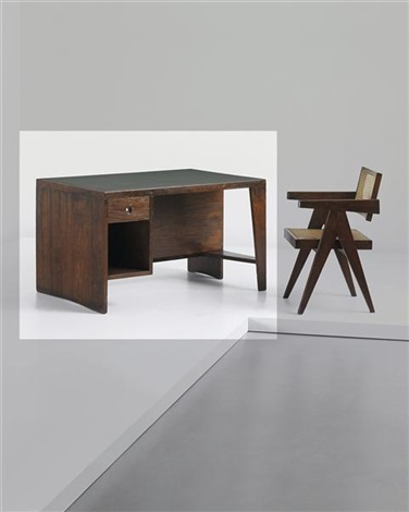 office table desk model no pj bu 02 a designed for administrative buildings chandigarh by pierre jeanneret
