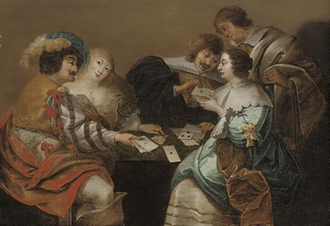 elegant company playing cards in an interior by theodoor rombouts