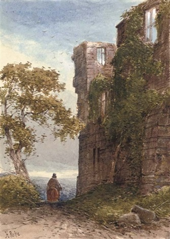 a traveller before a ruined castle 64 others 65 works by henry pope