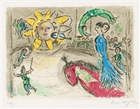 sun with red horse by marc chagall