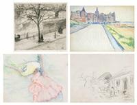 près de la ferme; entrée de westende; londres; femme au chapeau (4 works) by jacobs (jakob) smits