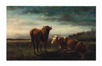 cows at pasture by jules dupré