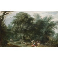 a wooded landscape with diana and her nymphs hunting by alexander keirincx