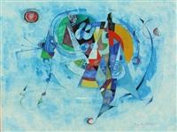 composition sur fond bleu by pierre de berroeta