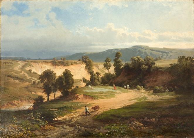 sommerliche landschaft mit spaziergängern und bauern bei der feldarbeit by andreas achenbach