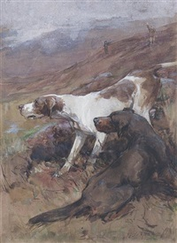 a hunting party on a moor (+ a setter and a pointer working on a moor; 2 works) by george denholm armour