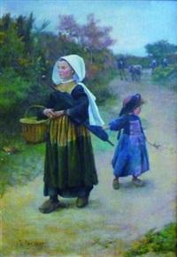 femme et enfant sur un chemin by jean bertrand pegot-ogier