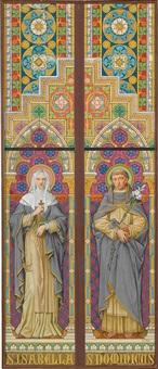 farbige entwurfsskizze mit den hll. isabella und dominicus für ein fenster der basilika st. epvre in nancy by franz jobst