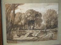 paysage de forêt et étang animé d'un personnage by nicolas louis cabat