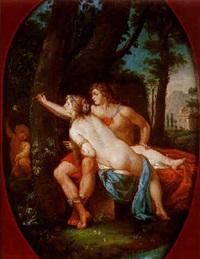 angélique et médor dans un ovale peint by pietro benvenuti