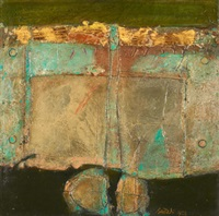 abstract with gold and turquoise plate by ahmad sadali