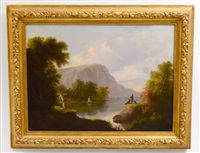 hudson river landscape with fishermen and dog by american school (19)