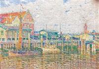 neo-impressionistische hafenlandschaft mit booten und lagerhäsern by ernst gock