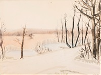 landscape in winter by peter dülberg