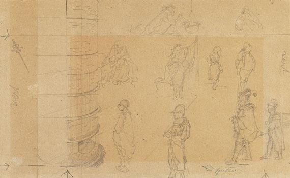 studienblatt mit 10 charakteristischen typen als entwürfe zu gemälden study skizzen sketches verso by carl spitzweg