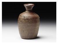 an old-bizen style sake bottle by kitaoji rosanjin