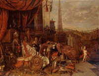 still life with various spoils of war, a classical city beyond by francois van aken