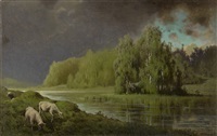 approaching storm, sheep on a river bank by petr alexanderovich sukhodol'sky