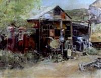 old gas station or junkyard by tom dorr