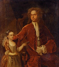 portrait of a gentleman and his daughter, in an interior, the girl wearing a globe charm and holding a tobacco box by john smibert