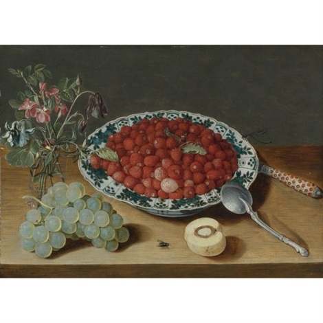 a still life with strawberries in a wan li porcelain bowl a bunch of grapes a glass vase with columbines and eglantine a silver spoon an inlaid knife and a half peach with a fly and dragon fly on a wooden table top by isaac soreau
