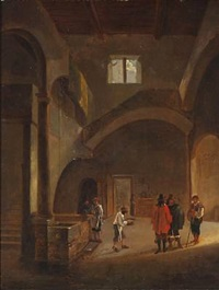 church interior with people at a well by gerrit adriaensz berckheyde