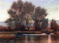 sunset, river ant by charles mayes wigg
