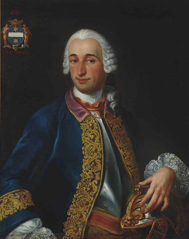 portrait of a gentleman possibly denis robert bruneau de vitry baron de vitry half length in a breastplate and blue coat with gold embroidery his left hand resting on his helmet by louis tocqué