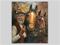 farmer with two horses by hans huber