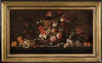 natura morta con cesto di fiori, frutta e pappagallo by flemish school