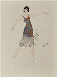 danseuse de charleston en robe bleue ornementée de pastilles dorées by erté