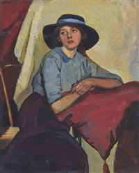 portrait of a young girl seated, three-quarter length, wearing a blue dress and wide-brim hat by william strang