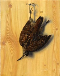 a still life of a snipe hanging from a nail by j.p.