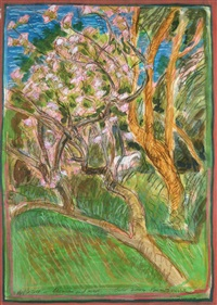 apple tree in blossom & mare, ower by brian bourke