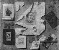 trump l'oeil still life of prints, an artist's palette, a pen, letters and comb, all on a wooden wall by andrea domenico remps