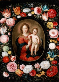 madonna mit dem kind im blumenkranz by andries daniels and simon de vos