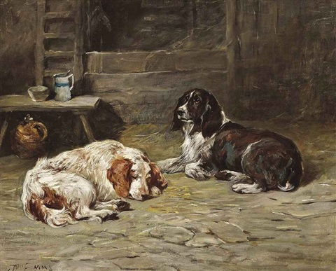 two spaniels in a barn by john emms