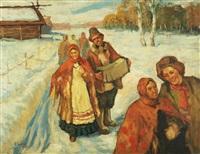 bridal procession in the snow by anatollo sokolov