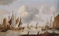 dutch shipping off an estuary with a threemaster by isaac walraven
