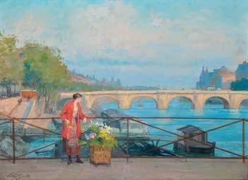 la marchande de fleurs à la passerelle des arts by victor gabriel gilbert