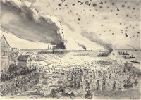 the retreat to dunkirk, may 1940, the beaches, h.q 1st corps, b.e.f. by john spencer churchill