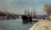 shipping on the seine at le pont d'alma, the eiffel tower beyond by charles mertens
