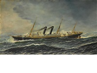 the s.s. philadelphia at sea in a storm by antonio jacobsen